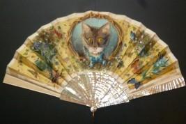 Chat et insectes, éventail fin XIXème siècle