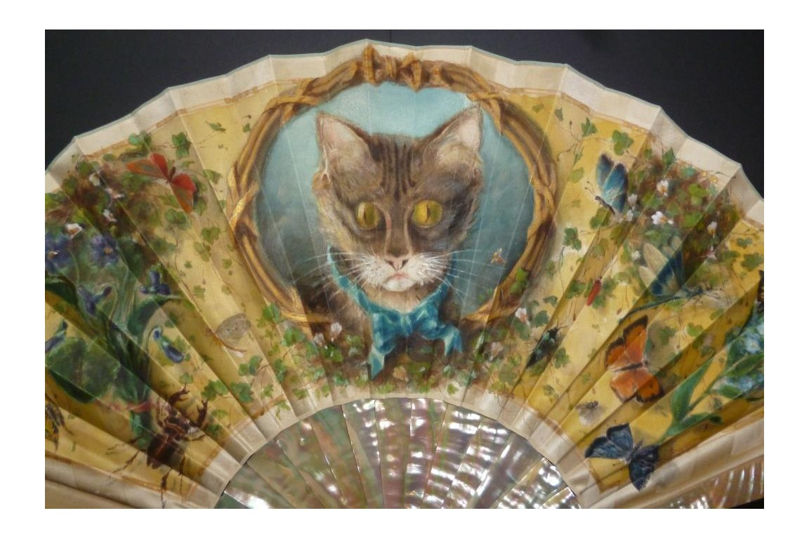 Cat and insects, late 19th century fan