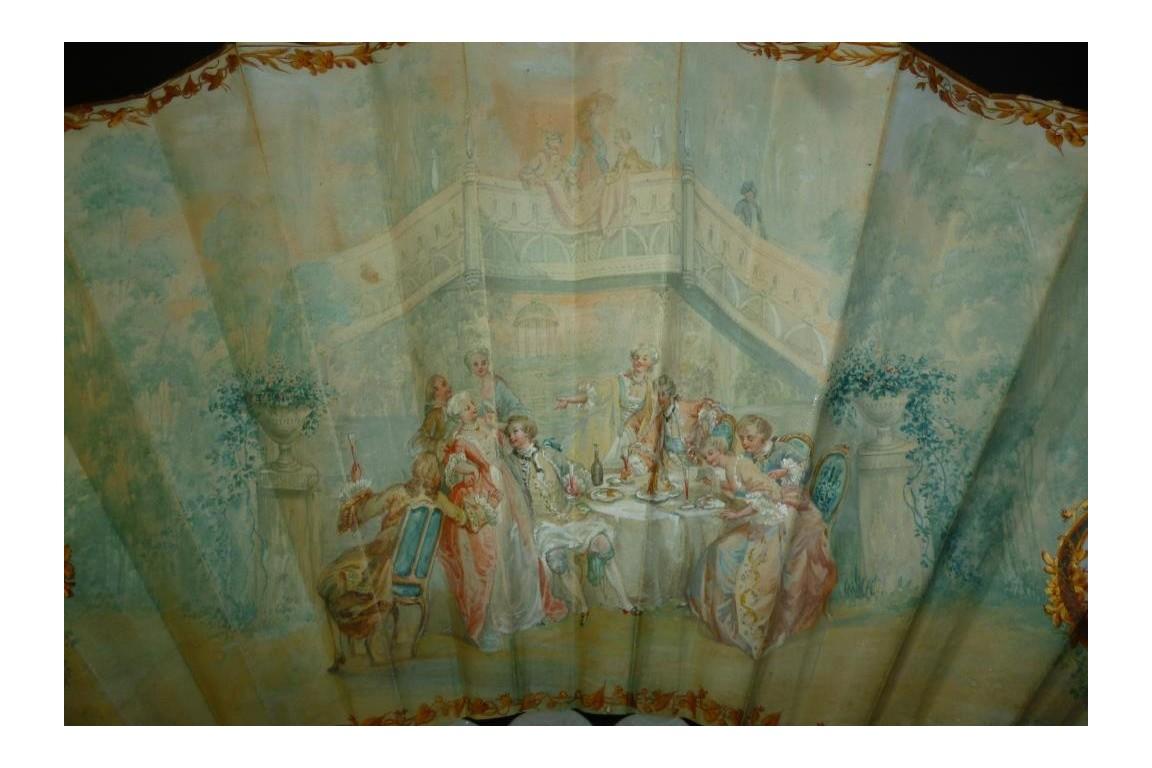 Déjeuner d'amour, éventail fin XIXème