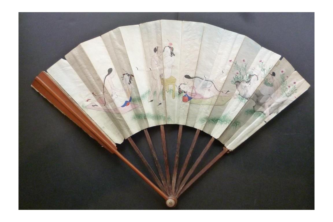 Erotic surprise, double entente fan, China, 19th century
