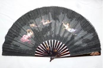 Parmi les nymphes du printemps, éventail d'Aufray vers 1880-90