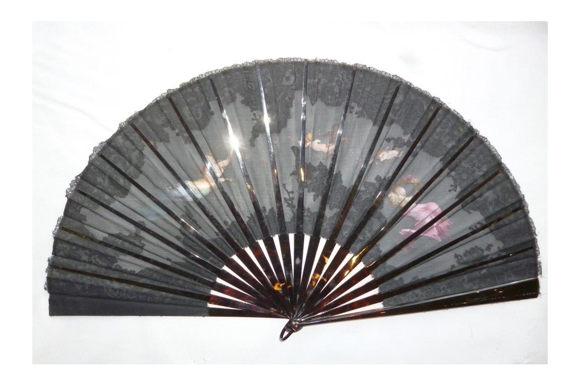 Among the spring nymphs, fan by Aufray, circa 1880-90