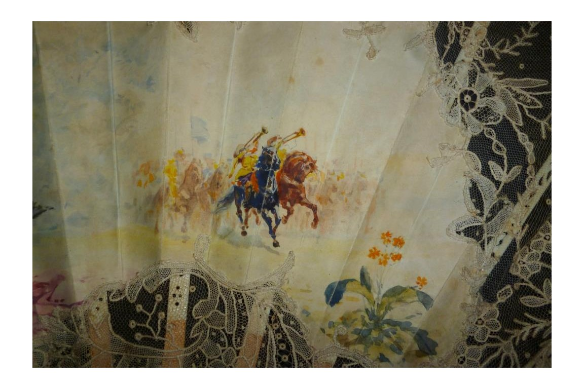 Charge de cavalerie, éventail de JP Sinibaldi, vers 1880-90