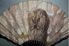 Chouette en hiver, éventail de Thomasse, vers 1900 - 1910