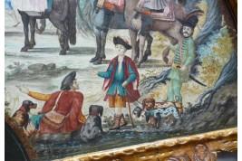 Chasses et garnisons autour de Florence, éventail de Pietro Penna, début XVIIIème siècle