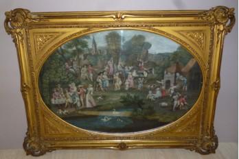 Retour de marché, feuille d'éventail fin XVII ou début XVIIIème siècle