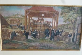 Moines vendangeurs, feuille d'éventail vers 1700