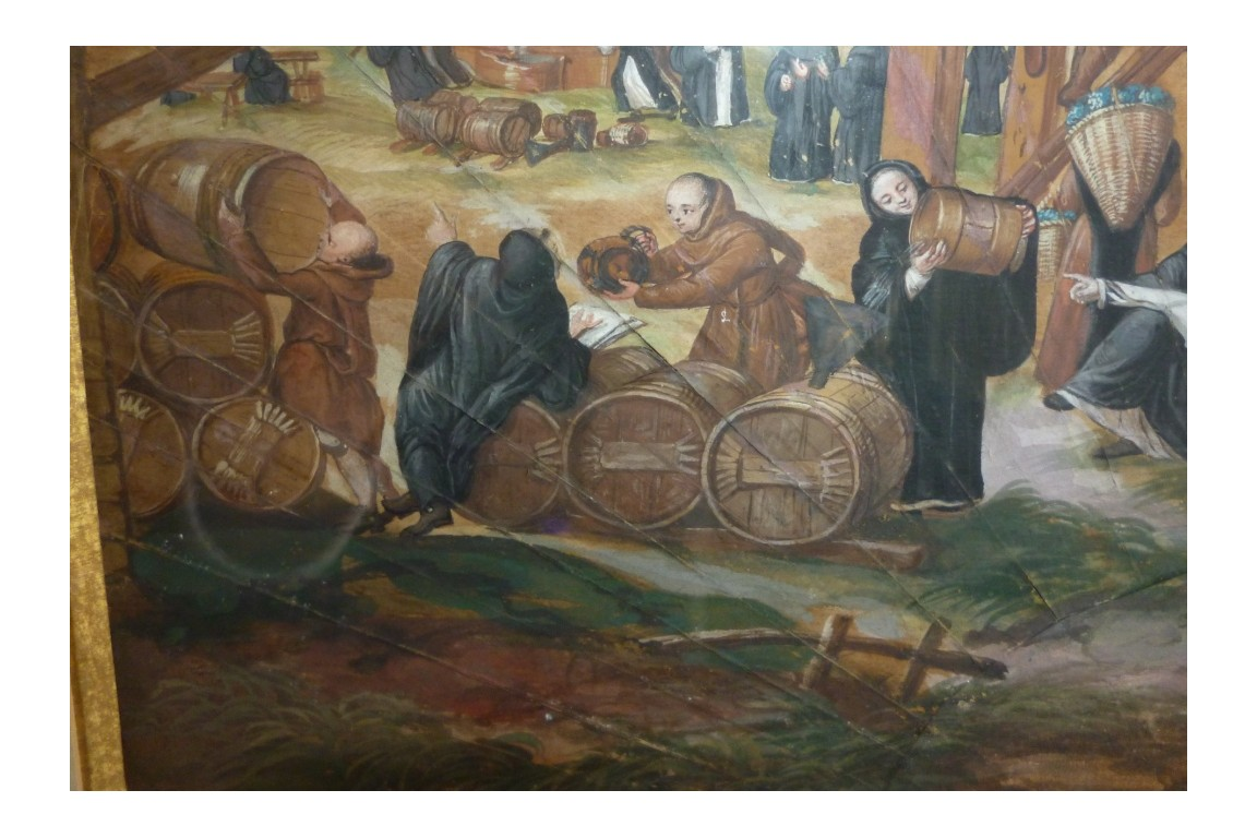 Harvesting monks, fan leaf, circa 1700