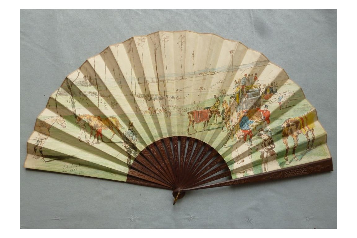 The racetrack, fan by Lewis Brown, 1889