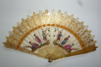 Badinage under the trees, fan circa 1830