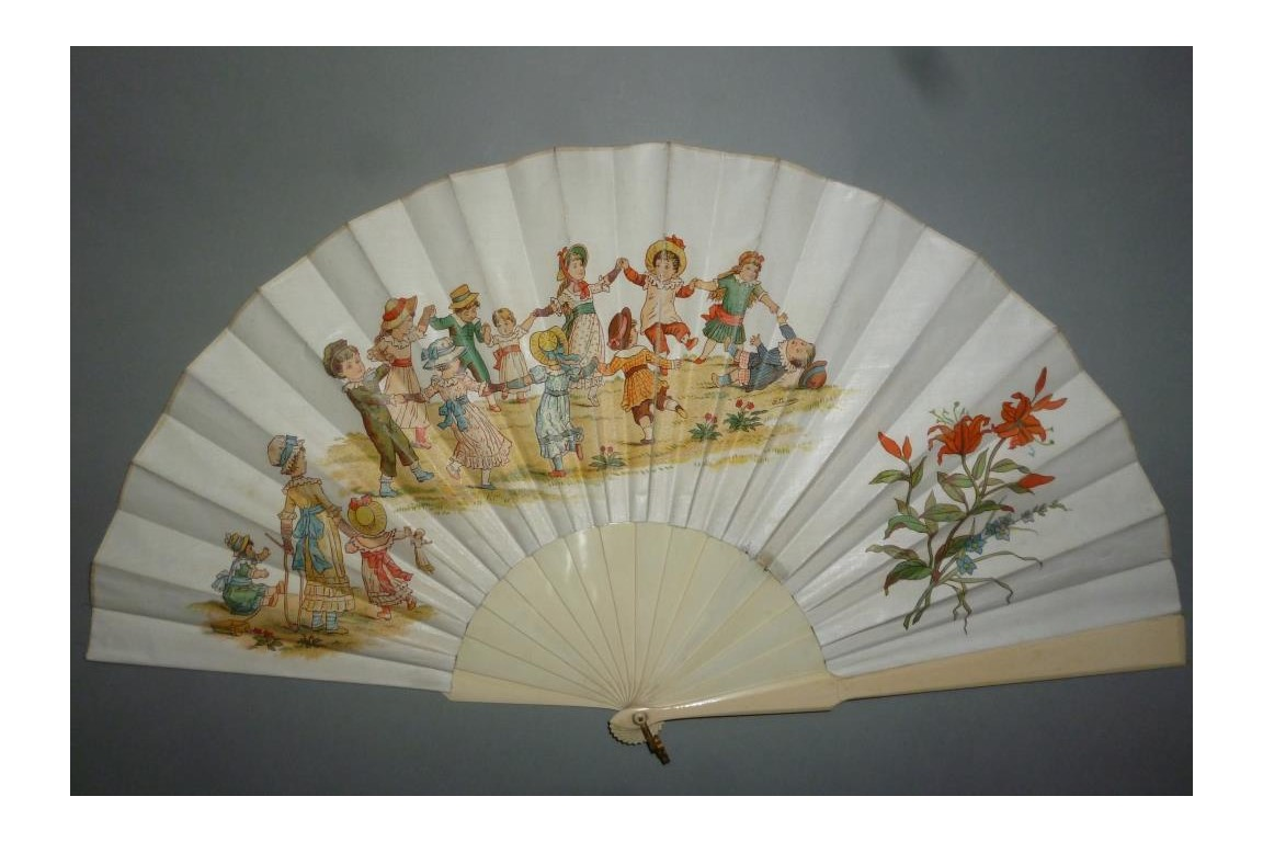 Children's games, fan by Lauronce, late 19th century