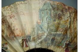 L'automne au château, éventail vers 1860-80