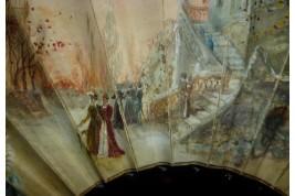 Fall at the castle, fan circa 1860-80