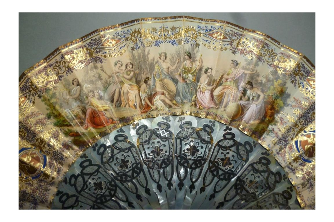 Les muses de l'art, éventail vers 1865-70