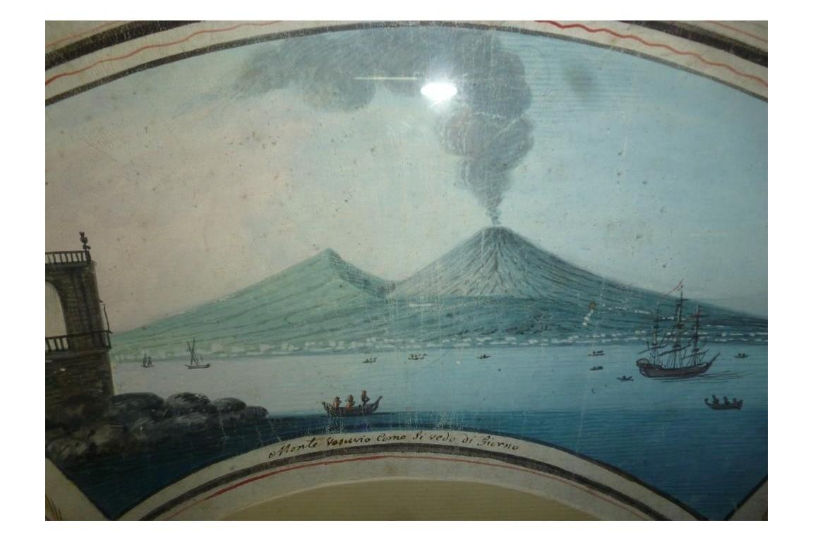 Eruptions of Vesuvius and Stromboli, Grand Tour fan leaf, 1793