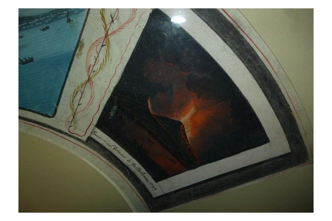 Éruptions du Stromboli et du Vésuve,, éventail du Grand Tour, 1793