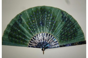 The three peacocks, fan circa 1900-1910