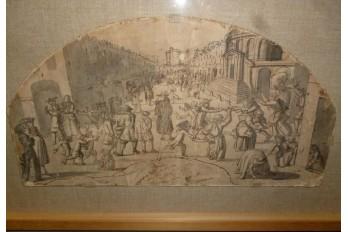 Carnival of street Saint Antoine in Paris, fan project, circa 1680