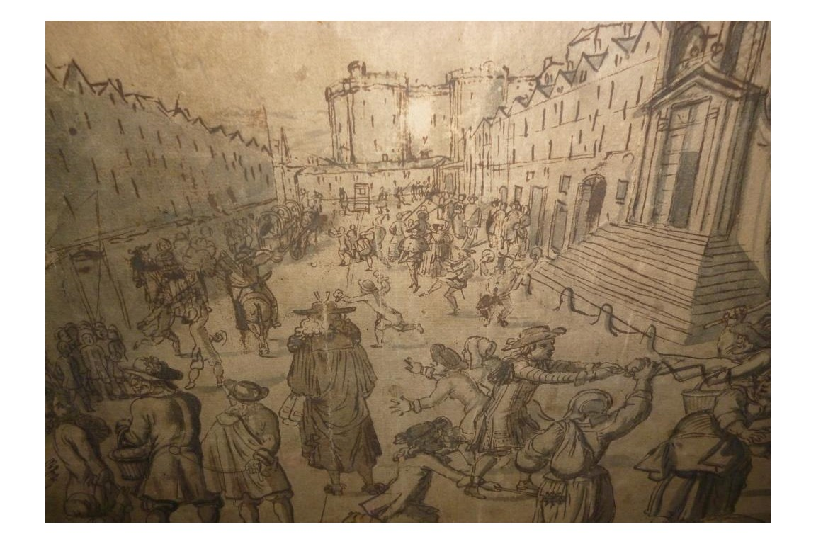 Carnival of street Saint Antoine in Paris, fan project, circa 1680