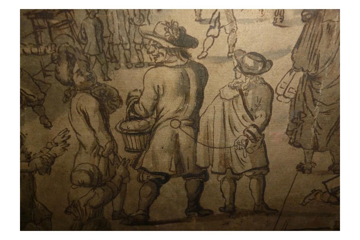 Carnaval de la rue Saint Antoine, projet d'éventail vers 1680