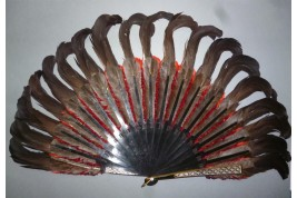 Black and red, feather fan, cica 1890