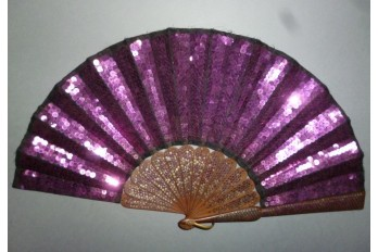 La vie en violet, éventail armure, vers 1900