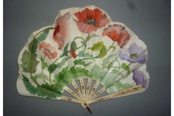 Poppies, art nouveau fan