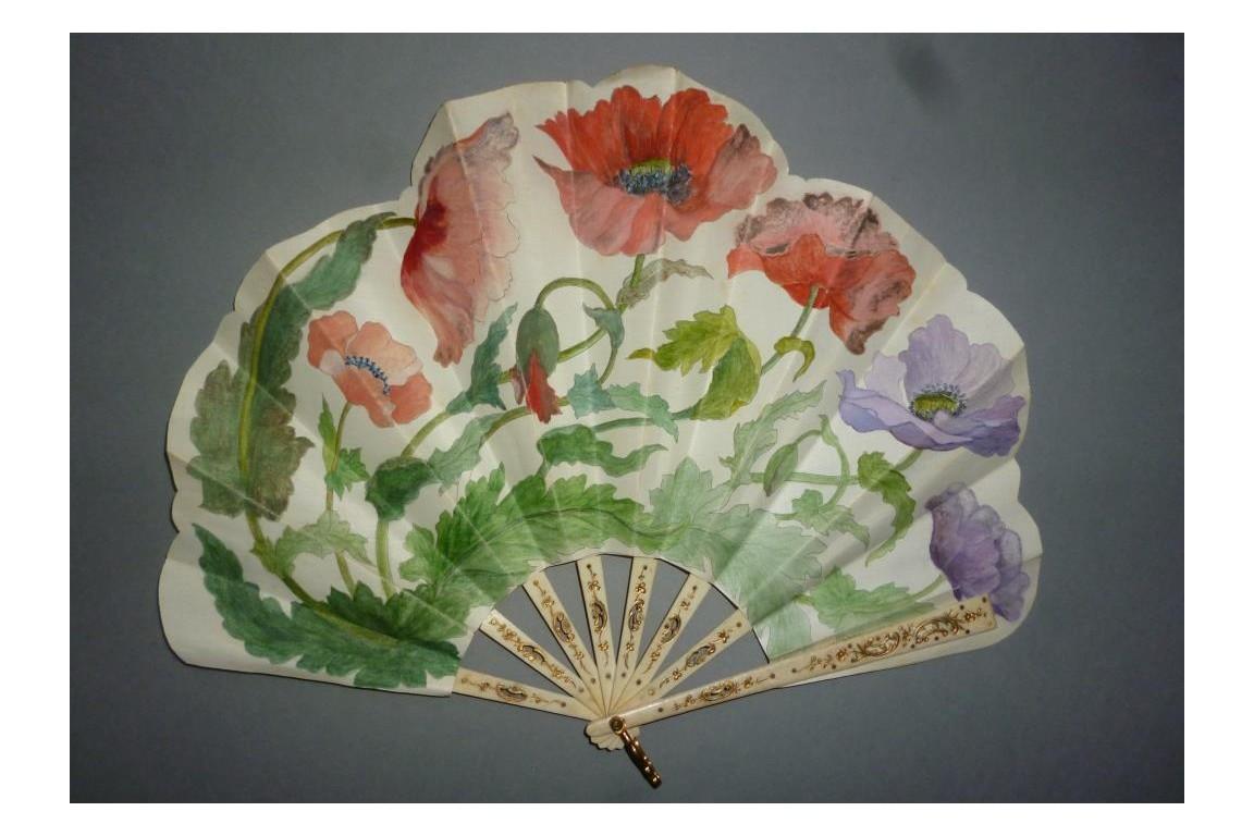 Poppies, art nouveau fan