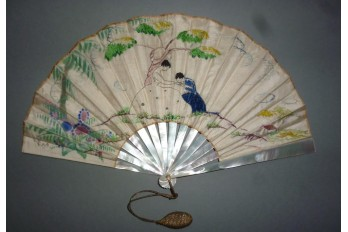 Hand-kissing, fan circa 1900