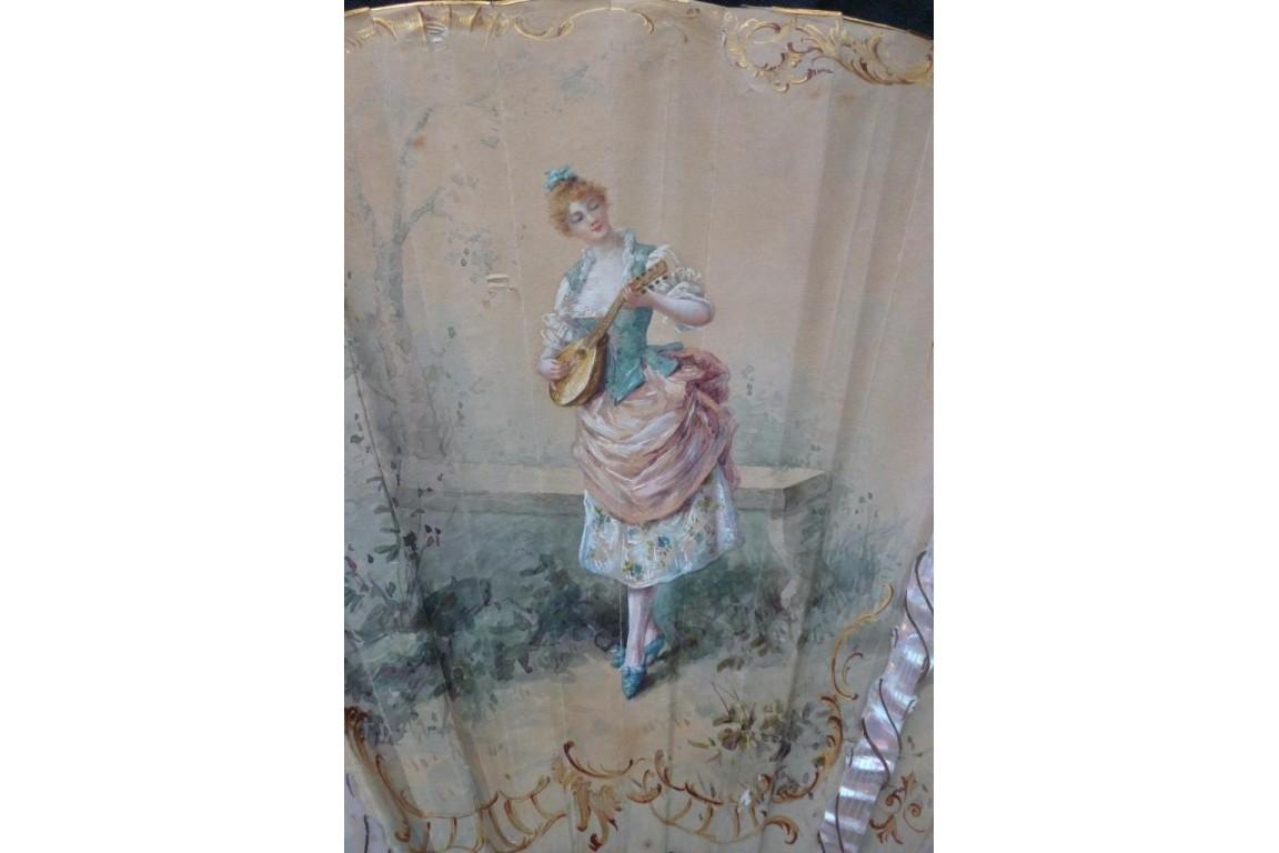 Music of Love by Marie Dumas, fan circa 1890-95