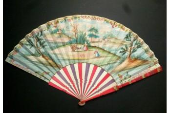 Charette et jeu de quilles, éventail vers 1730-40