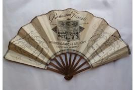 Bourjois, Mon Parfum et Restaurant Frascati, éventail publicitaire vers 1930