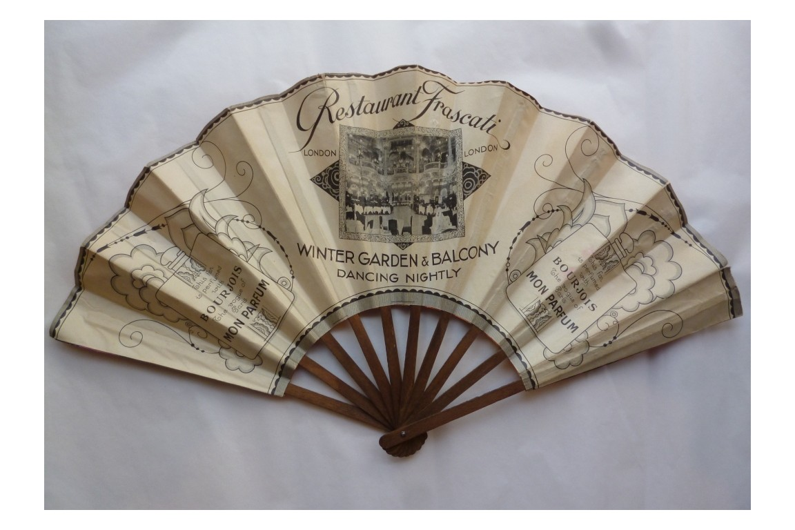 Bourjois, Mon Parfum & Restaurant Frascati, advertising fan, circa 1930
