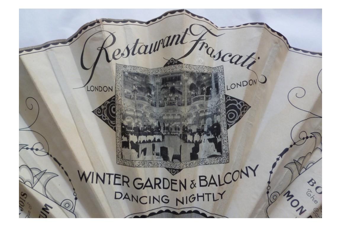 Bourjois, Mon Parfum & Restaurant Frascati, advertising fan, circa 1930