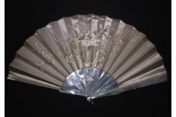 Tone on tone, embroidered fan, circa 1860-70