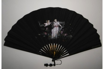 Nymph with flowers, fan circa 1885-90