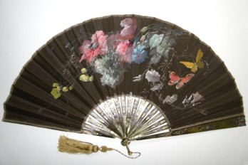 Butterflies and poppies, fan by Billotey, circa 1890