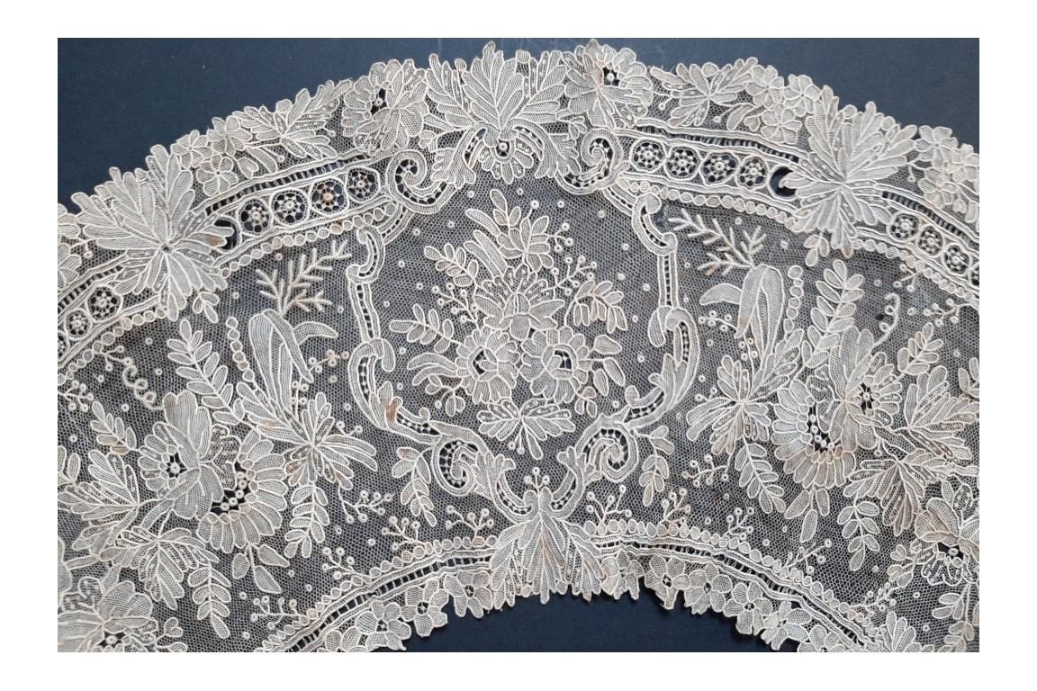 Lilac, Point de Gaze lace (2), fan leaf circa 1860