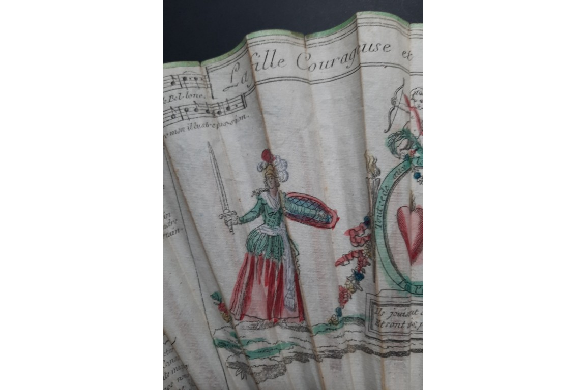 La fille courageuse et le héros de Cythère, éventail fin XVIIIème siècle