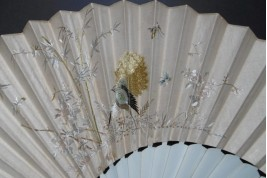 Golden peacock, 19th century chinese fan