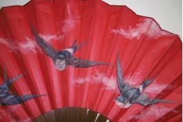 Breton swallows, late 19th century fan