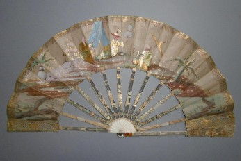 Chinoiseries in the garden, fan circa 1770-1780