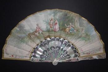 Danse et musique galantes, éventail de Lasellaz fin XIXème