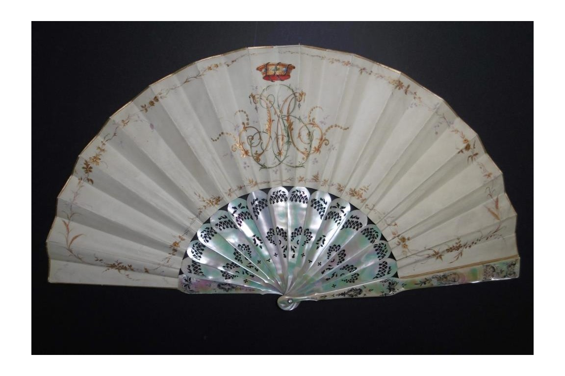 Gallant dance and music, fan by Lasellaz, late 19th century