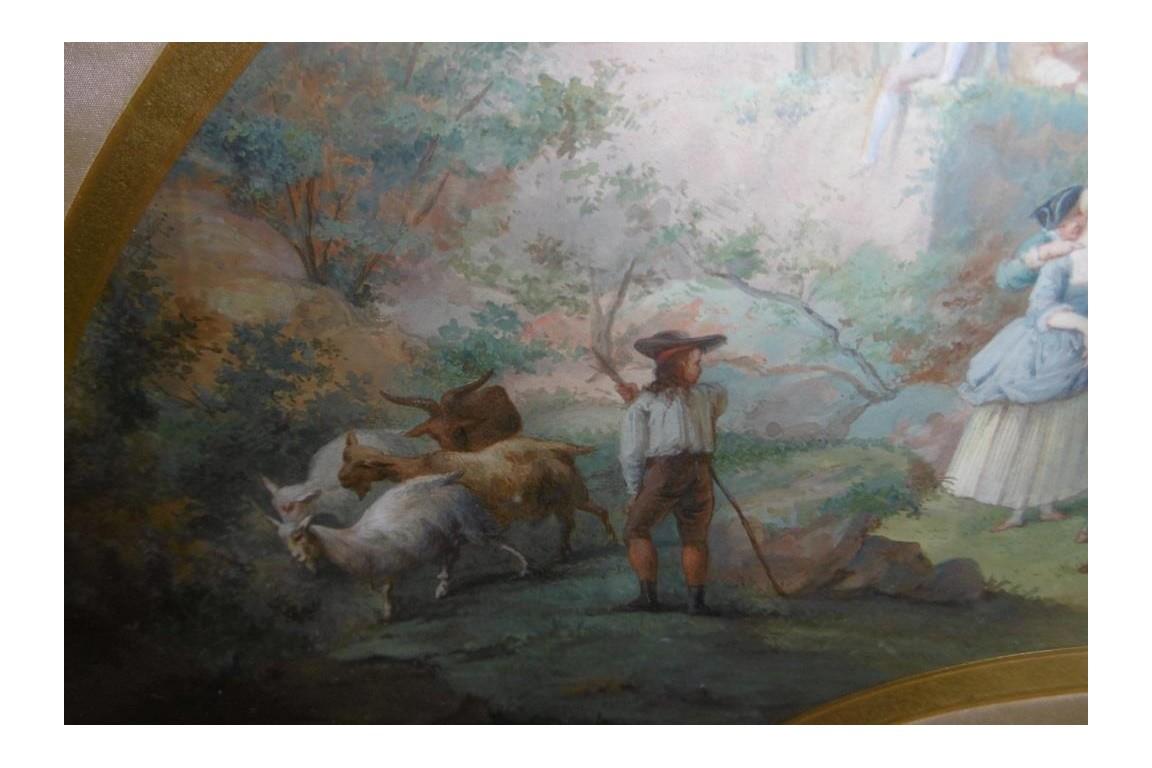Les heureux mariés, projet d'éventail de Marie Bonheur 1867