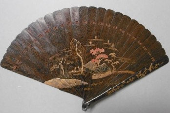 Landscape and flowers, Japan, 19th century fan