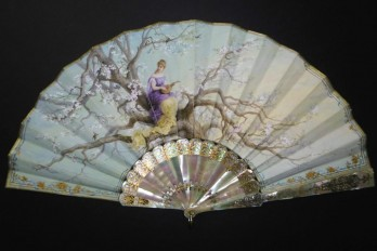 Music of cherry blossoms, fan circa 1880