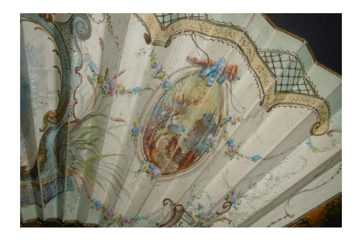 Colin maillard de Lancret, éventail pastiche vers 1900