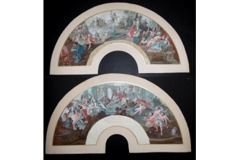 The theatre of the world in the palace of Plutus, fan leaves, 18th century