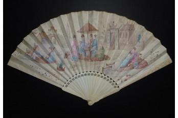 Le marchand de nouveautés en Chine, éventail XIXème siècle